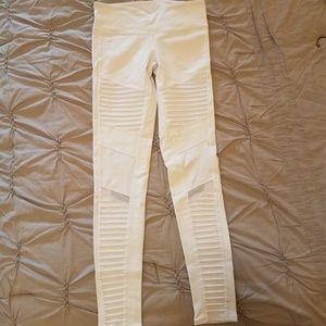 White ALO Yoga Moto Leggings